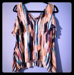 A.N.A multi colored cold shoulder blouse